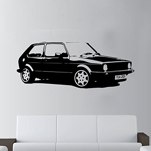 XL groß Auto VW Golf GTI MK1CLASSIC gratis Rakel. Art Wand sticker/aufkleber, schwarz, Black Xtra Large - 146cm W x 59cm H As Pictured