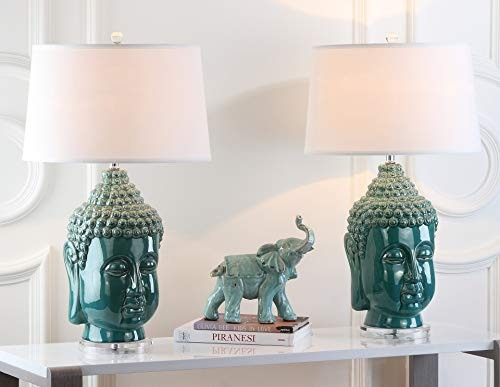 Safavieh Lighting Collection Serenity Buddha Teal 31-inch Bedroom Living Room Home Office Desk Nightstand Table Lamp (Set of 2) - LED Bulbs Included