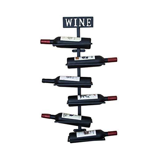 Pkfinrd Wijnglas Houder 6 flesjes Houder Af en toe Sipper Wijn Collectie Compacte vorm Modern Design Elegant Manier Plank Rack Iron Gift