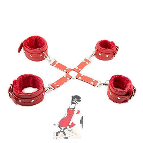 US-DXB Accessoires de harnais en similicuir gothique pour femmes,Rouge,M