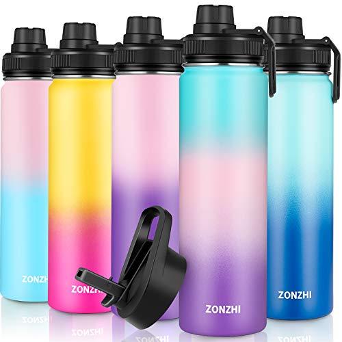 ZONZHI Borraccia Termica in Acciaio Inox 650ML-A Prova di Perdite- Bottiglia Termica per Lo Sport,Senza BPA con Spazzola di Pulizia Gratuita -Ideale per Bambini,all Aperto,Yoga, Palestra - 2 Coperchi