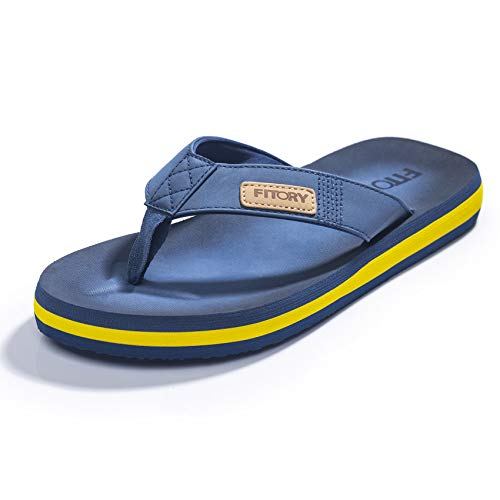 FITORY Chanclas de Hombre para la Playa Zapatos Planos de Verano para Piscina Casual Azul/Amarillo Talla 44 EU