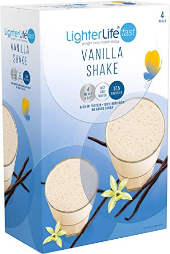 LighterLife Fast Vanilla Shake, Gluten Free, High Protein Powder Meal Replacement, 4 x 40g Servings per Box
