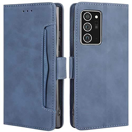 HualuBro Handyhülle für Samsung Galaxy Note 20 Ultra Hülle Leder, Flip Hülle Cover Stoßfest Klapphülle Handytasche Schutzhülle für Samsung Galaxy Note20 Ultra 5G Tasche (Blau)