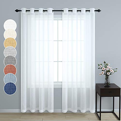 White Curtains 108 Inches Long for Living Room Decor Set 2 Panels Grommet Linen Textured Window Sheers Extra Long Drape Floor to Ceiling Curtains for Patio Sliding Glass Door Outdoor 52x108 Length
