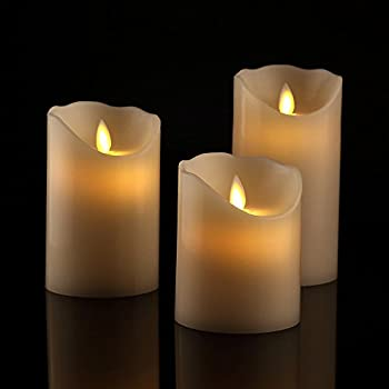 Antizer Flameless Candles 4  5  6  Set of 3 Ivory Dripless Real Wax Pillars Include Realistic Dancing LED Flames and 10-Key Remote Control with 24-Hour Timer Function 400+ Hours by 2 AA Batteries