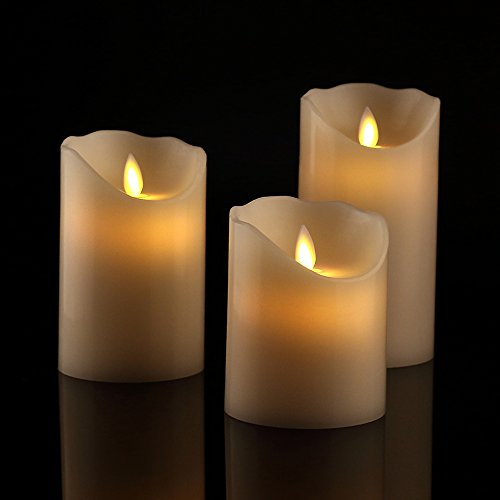 "Antizer Flameless Candles 4"" 5"" 6"" Set of 3 Ivory Dripless Real Wax Pillars Include Realistic Dancing LED Flames and 10-Key Remote Control with 24-Hour Timer Function 400+ Hours by 2 AA Batteries"