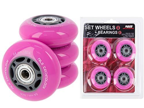 Nils Extreme Inliner-Rollen Inline Skates Rollen Wheel # mit guter Haftung Rollenset für drinnen & draußen mit Lager Rosa (PU 70x24)