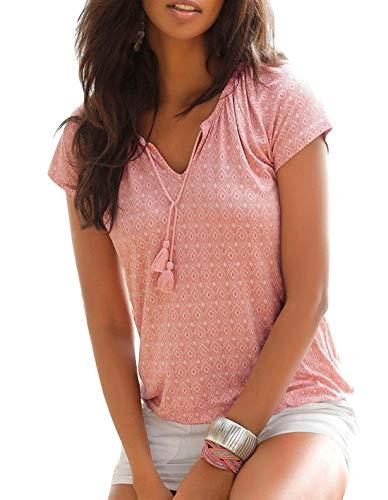 Yidarton T-Shirt Damen V-Ausschnitt Kurzarm Oberteile Sommer Allover Print Neckholder Blusen Shirt Tops