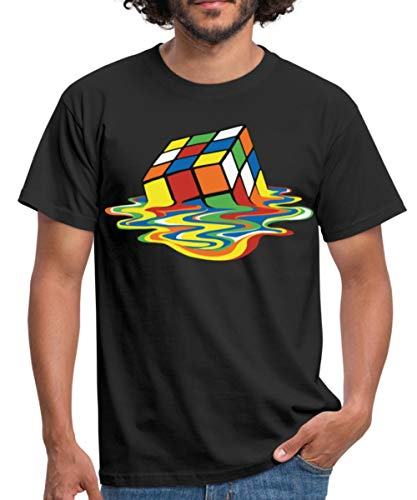 Rubik\'s Cube Zauberwürfel Melting Cube Männer T-Shirt, XL, Schwarz