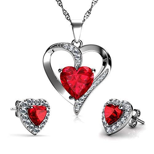 DEPHINI - Collar de corazón rojo - Plata de ley 925 -...