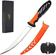 Fillet Knife Fishing Knife, 6.3 inch Stainless Steel Fillet Knife with Sheath, Multifunctional Fish Fillet Knife/ Fish Deboning Knife in Freshwater Saltwater (with Gift Box and Knife Sharpener)