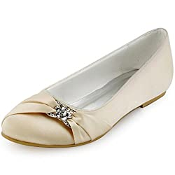 Champagne Closed Rhinestones Comfort Flats Pleated Satin Shoes