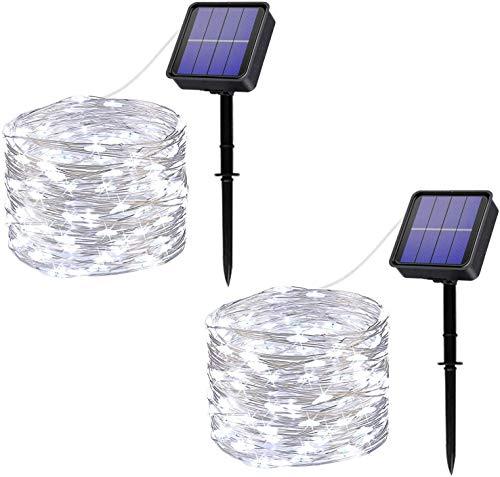 Catena Luminosa Solare per Esterni,Oreunik[2 Pacchi]12m 120 LED Luci Solari Esterno 8 Modalità Impermeabile Filo di Rame Luci Energia Solari Decorativa Per Giardino,Patio,Natale,Festa(Bianca)