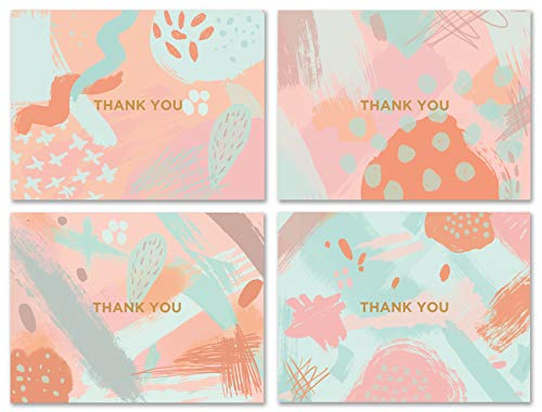 Modern Abstract Thank You Cards Bulk Box Set of 48 Blank Cards with Envelopes - Geometric Baby Shower Note Cards, Wedding Thank You Cards or Bridal Shower Thank you Card