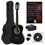 NAVARRA Konzertgitarre 4/4 STARTER SET schwarz mit cremefarbigen Randeinlagen, incl. Tasche leicht gepolstert mit Rucksackriemen, Lehrbuch und CD, Cliptuner (Stimmgerät) LCD-Nadelanzeige, 2 Plektren