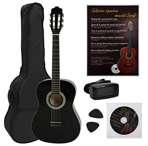 NAVARRA Konzertgitarre 1/2 STARTER SET schwarz mit cremefarbigen Randeinlagen, incl.Tasche leicht gepolstert mit Rucksackriemen, Lehrbuch und CD, Cliptuner (Stimmgerät)LCD-Nadelanzeige,2 Plektren