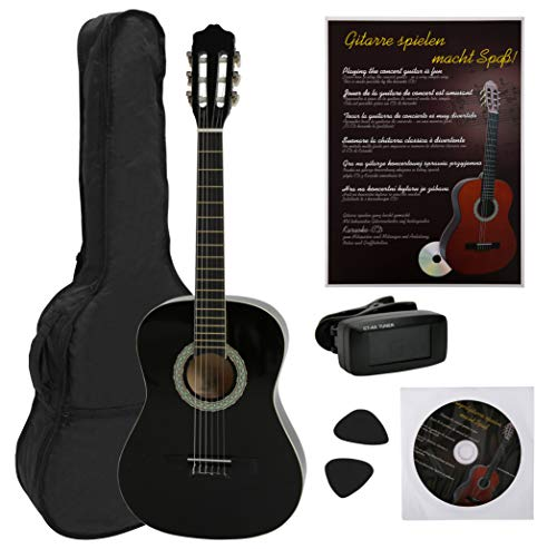 NAVARRA NV12PK Classical Guitar STARTER PACK 4/4 black with...