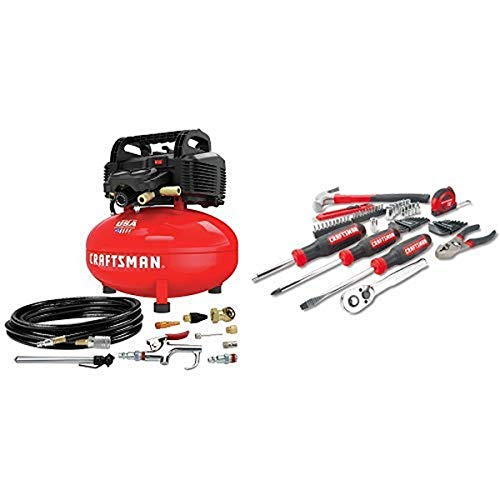 CRAFTSMAN Air Compressor, 6 gallon, Oil-Free Kit with Mechanics Tools...