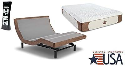 DynastyMattress 14-Inch CoolBreeze GEL Memory Foam Mattress with S-Cape Adjustable Beds Set Sleep System Leggett & Platt