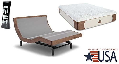 DynastyMattress 14-Inch CoolBreeze Gel Memory Foam Mattress with S-Cape Adjustable Beds Set Sleep System Leggett & Platt (Twin XL, Brown)