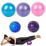 Binjor 5Pcs Mini Pelota de Ejercicio de Pilates 25cm Anti-explosión y Antideslizante Balones Yoga Fitness Bola Suiza Bola de Masaje con Pinchos de Erizo