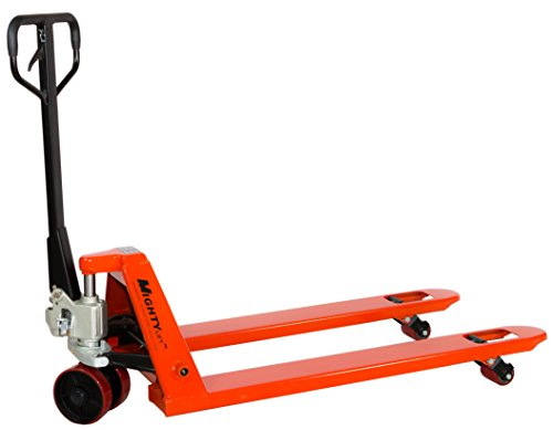 Mighty Lift ML55-2 Heavy Duty Pallet Jack Truck, Wheels: Polyurethane on Steel, 50' Height, 27' Width, 48' Length, 5500 lbs. Load Capacity, Orange