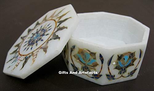 Gifts and Artefakte Schmuckkästchen aus weißem Marmor, Pietra Dura Art mit Perlmutt-Blumenmuster, Heritage Crafts, 10,2 cm