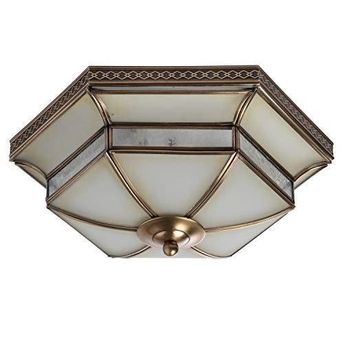 Chiaro 397010103 Antike Deckenleuchte Tiffany 3 Flammig Messing Landhaus Küche Flur