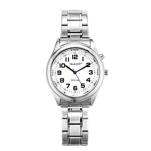 PROFI Sprechende Armbanduhr Z-Armband SILBER Uhr Senioren Blindenuhr Zeitansage Kalender (34mm Damenuhr)