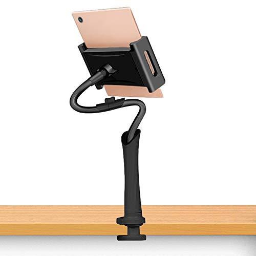 EasyULT Soporte Tablet, Soporte para Teléfono Móvil, Universal Multiángulo Soporte con Cuello de Cisne, Brazo Largo Flexible, 120cm de Longitud en Total(Negro)