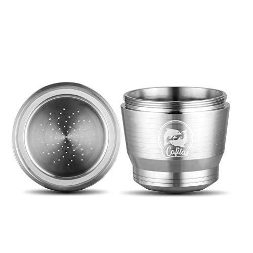 Cápsulas Nespresso Reutilizables, ACELEY cápsula de café Recargable de Acero Inoxidable con Cuchara y Cepillo, cápsulas...