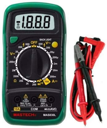 Mastech Mas830L Digital Multimeter - Multi Meter With Probes For Measuring Resistance. Ac/Dc Voltage And Current