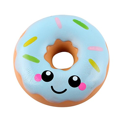 Sonnena Juguetes compresivos, Squishies Kawaii Juguetes Linda Donut Sonriente de Silicona Animales Squishies Squeeze Toys (A, Azul)