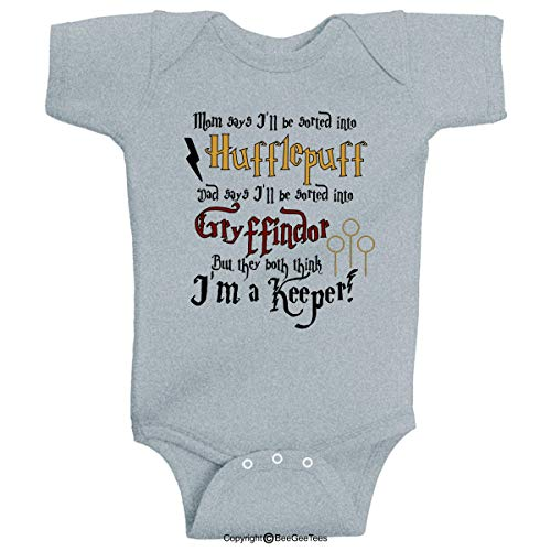BeeGeeTees Mom says Huff Dad says Gryff I'm a Keeper Wizard Inspired Baby (Gray, 6 Months)