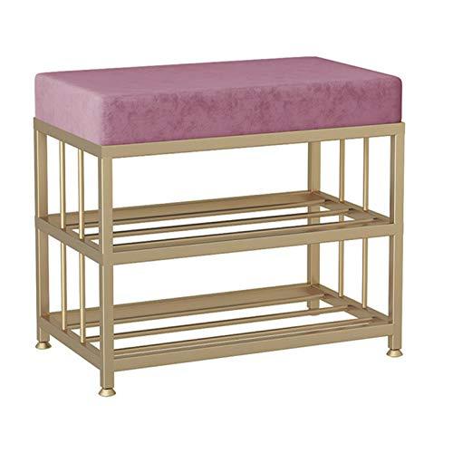 Feixunfan Banco de zapatos multifuncional para el hogar, zapatero, se puede sentar en el guardarropa, taburete simple para el pasillo, sala de estar (color: rosa, tamaño: 80 x 35 x 45 cm)