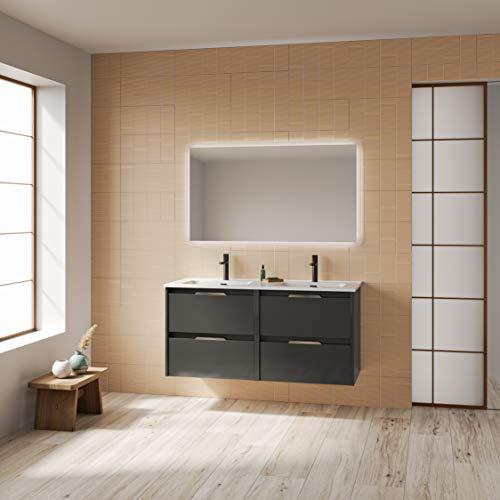 Suki mueble de baño, acabado en Antracita Brillo, con 4 cajones y anchura de 120 cms; incluye lavabo cerámico