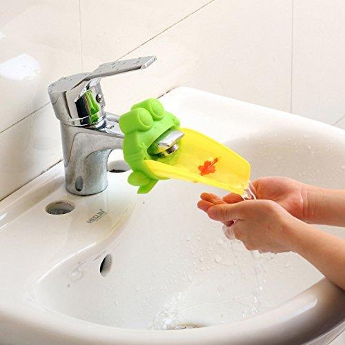 fligatto Cute grifo extensión extensor para niños bebé lavarse las manos cuenca baño dibujos animados diseño de rana (verde)