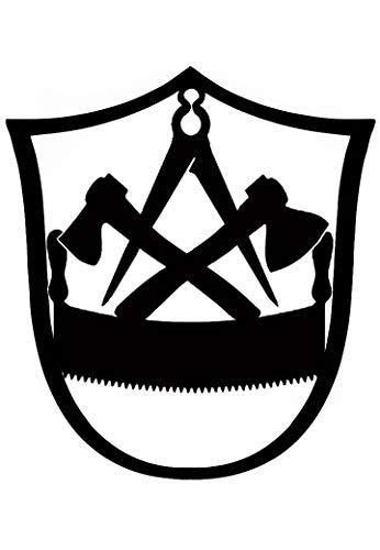 Metall-Design-Dithmarschen Innungsschild Zunftzeichen Zimmermann in WAPPENFORM H= 40cm-90cm aus Stahl Handwerk Schild Bretter Dachpfannen (40cm)