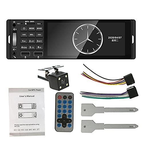 Timagebreze Receptor Mp5 de 1 DIN para Coche, Radio de Coche de 5,1 Pulgadas, Luz de Color, 12 V, USB Aux, Compatible con, Manos Libres para Coche con CáMara 4Led