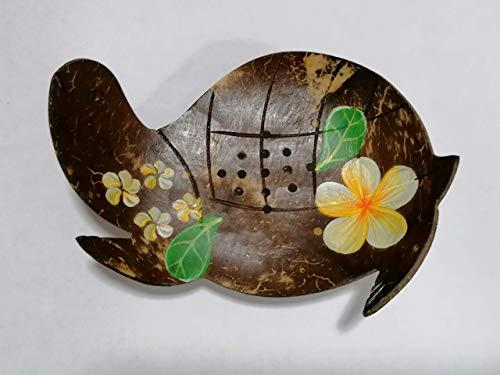 Kinaree Kokosnuss Seifenschale - 4x12x10 cm natürliche Seifenablage aus Kokosnuss in Form Einer Schildkröte für Handseife