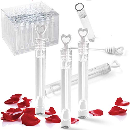 Liberty Imports 48 Pack Mini Heart Bubble Wands – Great Bridal Party Favors for Weddings and Anniversaries (White)
