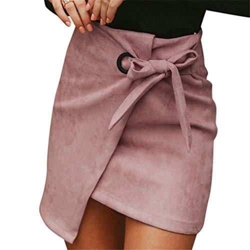 Lulupi Leder Minirock Damen Herbst Rock Elegant Kurz Rock Sexy Asymmetric High Waist Mini Röcke Unregelmäßig Skirt mit Tunnelzug