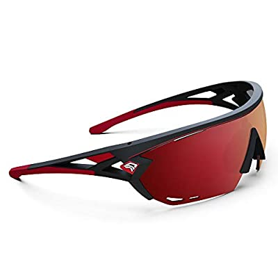 TOREGE Sports Sunglasses with 1.4mm Polarized Lens For Men Women Cycling Running Fishing Driving Golf Glasses TR18 Eagle-s (Matte Black&Red&Red Lens