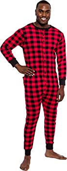 Ross Michaels Mens Buffalo Plaid One Piece Pajamas - Adult Union Suit Pajamas with Drop Seat  Red/Black Small