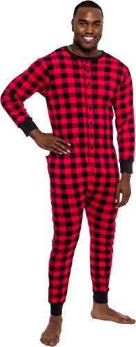 Ross Michaels Mens Buffalo Plaid One Piece Pajamas - Adult Union Suit Pajamas with Drop Seat (Red/Black, Large)