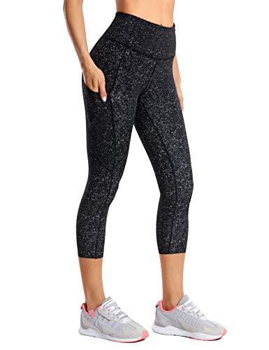 CRZ YOGA Donna Leggings Fitness Running Pantaloni Sportivi Capri Vita Alta con Tasca Laterale -48cm Multicolore #3 46