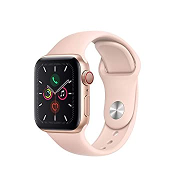 Apple Watch Series 5  GPS + Cellular 40MM  - Gold Aluminum Case with Pink Sport Band  Renewed
