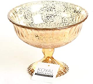 Koyal Wholesale Compote Bowl Centerpiece Mercury Glass Antique Pedestal Vase, Floral Centerpiece, Wedding, Bridal Shower, Home Décor (7