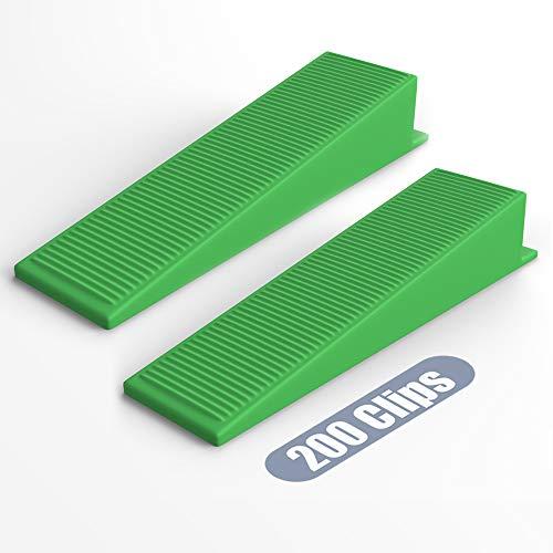 """YEFU Tile Leveling System Wedges Include 200 Pcs Tile wedges (Suit for YEFU 1/8"""" spacers, 1/16"""" spacers and Tile Leveling System Kit) for Tile Leveler Installation"""